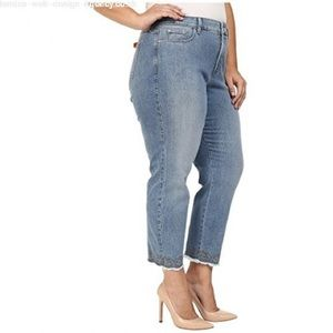 NYDJ Clarissa Ankle Embroidered Hem Stretch Jeans